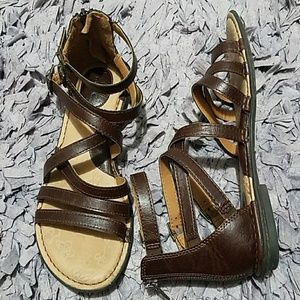 BOC Brown Leather Strappy Gladiator Sandals Size10